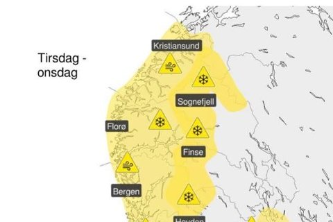 Full storm og store snømengder er venta på Vestlandet. – Det er kraftig nok vind til at greiner kan knekke.
