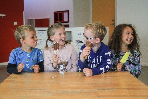 Johan (5), Frida Mabel (6), Vinjar (6) og Celine (6) er Avisa Nordhordland sitt ekspertpanel og testa sommaris.