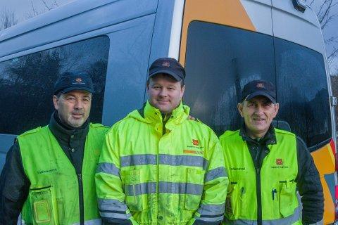 Tom Børslid, Knut Sylta og Rolf Rosberg har alle jobba i Statens vegvesen i meir enn 10 år, og synast jobben er meiningsfylt.
