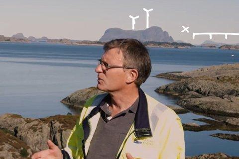 FEIL: Oddvar Hatlem er intervjua i filmen, men han garanterer at det ikkje er snakk om å plassere vindturbinar på Alden slik det er illustrert i Siemens Norge sin reklamefilm. På filmen ser vindturbinane ut som dei utskjelte kjempeprosjekta som er i vinden for tida. I dette prosjektet var det derimot snakk om små turbinar på 18 meter. Både plasseringa og storleiken gir derfor feil inntrykk.