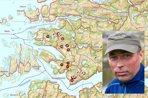 PÅ JAKT: Stein Mortensbakke leiar jakta på ulven i Sunnfjord og Ytre Sogn. Kartet syner registreringane etter ulven: kadaver, observasjonar og DNA-spor. Ikkje alle spora er stadfesta.