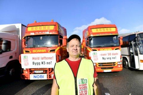 Lastebilsjåfør og bedriftseier Torgils Rogne stilte i lørdagens konvoi.