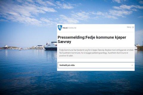 Slik såg starten av pressemeldinga til Fedje kommune ut.