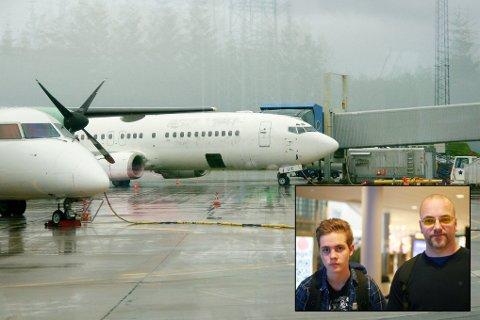 Aleksander Kvarsnes(14) og Bjørn Sakariassen skulle reise med dette flyet klokken 07:00 i dag tidlig.