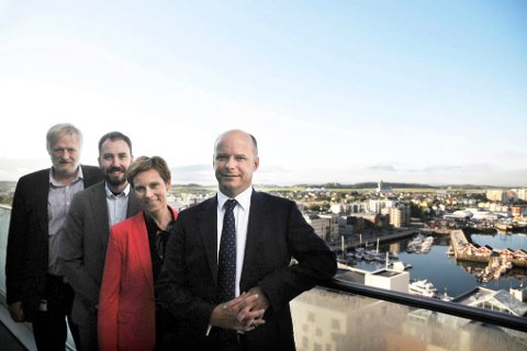Friske idéer: Rolf Kåre Jensen, Asgeir Jordbru, Grete Kristoffersen og Smart City-eksperten dr. Robin Daniels.