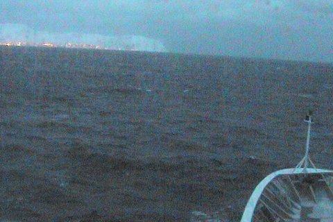 Webkamera på MS Kong Harald fredag formiddag.