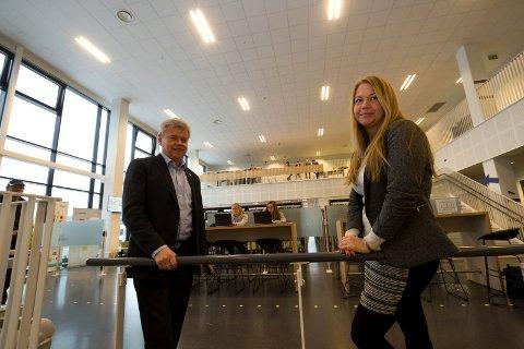 Direktør i NHO Nordland og prosjektleder Marianne Bahr Simonsen på Bodø Videregående skole i forbindelse med NHOs kompetansebarometer.