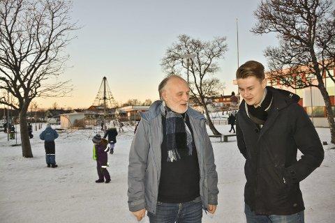 Skolesatsing: Randolv Gryt (t.v.) og Øystein Mathisen (Ap) reduserer ikke eiendomsskatten, men setter av mer penger til barn og unge. I det inngår også søskenmoderasjon i SFO. Foto: Trude Landstad