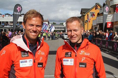 Knut-Eirik Dybdal (her sammen med Thor Hushovd) har lenge hatt en ide om å bruke hurtigruten som transportmiddel.