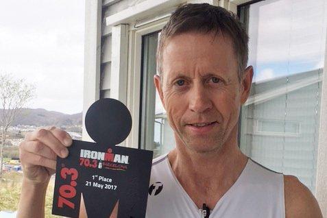 Jernmann: Stig André Knudsen gikk helt til topps i Barcelona. Seieren i Barcelona var Stig Andrés første, nå vil han ha mer.  Begge Foto: Privat