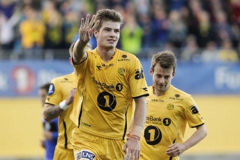 Tre mål: Alexander Sørloth scoret tre mål i helga. Foto: Mats Torbergsen NTB Scanpix
