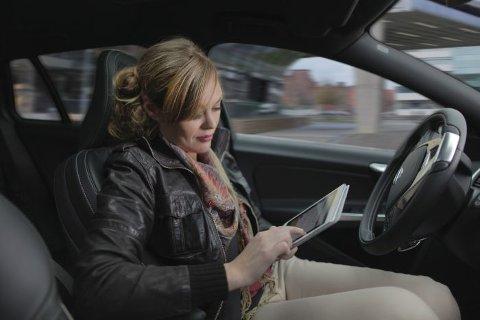 SELVSTYRT: Bilprodusentene jobber iherdig for å utvikle biler som ikke trenger sjåfør.