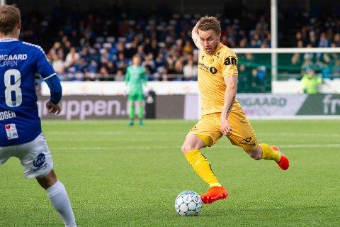 Trond Olsen under eliteseriekampen i fotball mellom Sarpsborg 08 og Bodø/Glimt på Sarpsborg stadion.  Foto: Audun Braastad / NTB scanpix