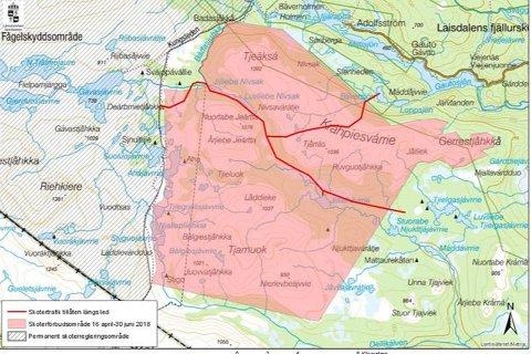 Det blir scooterforbud i det markerte området sør for Adolfstrøm fra 16.april til 30.juni.