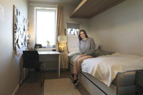 Koselig hybel: Caroline Høy Berg bor på 14 m² som koster 4900 kroner i måneden.