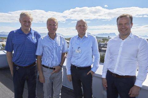 Partene i prosjektet møttes for å diskutere Smart transport Bodø. F.v .Rolf Kåre Jensen, rådmann Bodø kommune, Dag Falk-Pettersen, konsernsjef Avinor, Konsernsjef i Telenor Sigve Brekke og Tomas Norvoll, fylkesrådsleder Nordland.