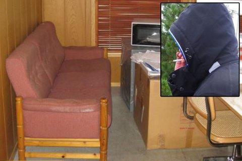 VOLDTATT: På denne sofaen foregikk voldtekten.