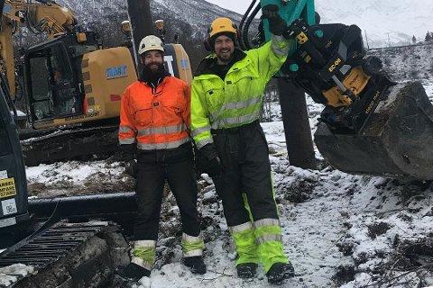 SELGER OG SATSER VIDE: Eirik Haugerudbråten (i gult) og Lasse Pedersen (i orange) selger seg ned i livsverket, men får deleierskap i ny riksentreprenør.