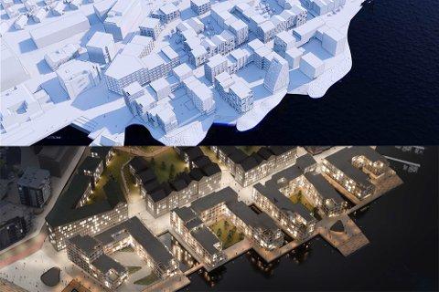 Øverst er det reviderte planforslaget for Breivika vest. Nederst er det opprinnelige, med kanaler. Illustrasjon: Schmidt Hammer Lassen