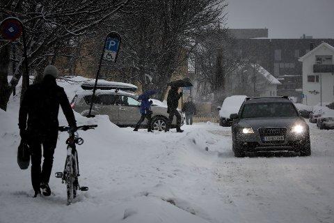 Bybildet.Snebyger i sentrum.Februar 2019.Foto:Tom Melby