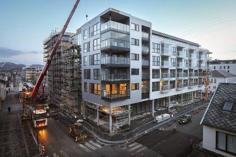Nye boliger: Meierikvartalet under bygging i 2019.  Foto: Tom Melby