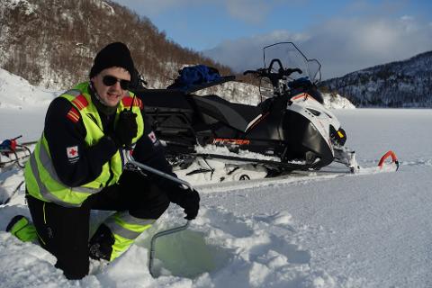 Bodømarka: Røde Kors Hjelpekors ber skifolket være obs på forholdene om været endrer seg. På bildet: Lars Stefan Rørvik, medlem i BRKH.