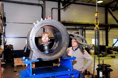 Maskiningeniør Lars Göldner og daglig leder Steinar Faanes i Tocircle Industries i 2016.