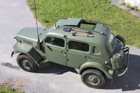 Dette tidligere millitære kjøretøyet selges i Bodø.
