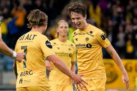 Håkon Evjen (19) imponerte foran speiderne fra United og City når han scora to mot Strømgodset tidligere i august.