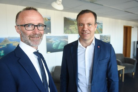 Fylkesråd for samferdsel, Svein Eggesvik (Sp), og fylkesrådsleder, Tomas Norvoll (Ap).