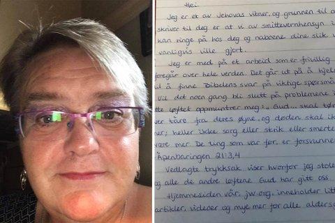 Ingunn Torild Selnes Karlsen synes ikke noe om brevet hun mottok i postkassa for litt siden. Foto: privat