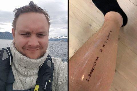 Etter lørdagens kamp tok Eirik Haugvik (35) opp telefonen og bestilte time hos tatovøren. Foto: Privat