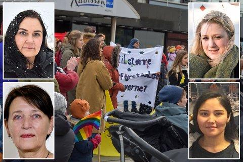 Parolen til Kvinnenettverk Noor er omstridt. Innfelt: Monica Tangen, Marita Sæther, Anne Grenersen og Fereshta Akbari.