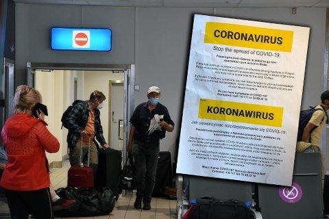INFORMASJON: Passasjerene som ankom Bodø Lufthavn fra Gdansk i Polen søndag ettermiddag ble tatt i mot av Bodø kommune som informerte om retningslinjene.