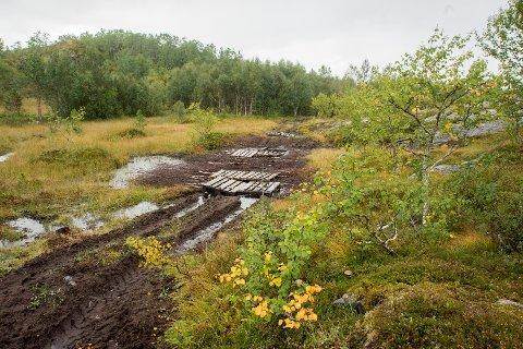Bilder av den ødelagte turstien på Tverlandet. Sveip videre for å se flere bilder.