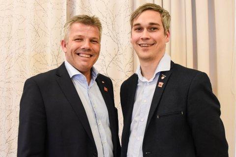 Bjørnar Skjæran og Peter Eide Walseth når sistnevnte ble presentert som Skjærans politiske rådgiver. Nå er de begge i hardt vært.