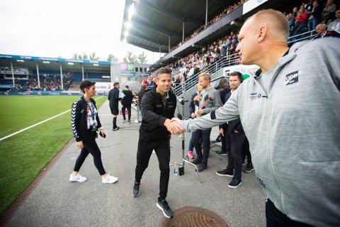 Dag Eilev Fagermo, fra tiden i Odd, og Bodu/Glimts trener Kjetil Knutsen i 2019.