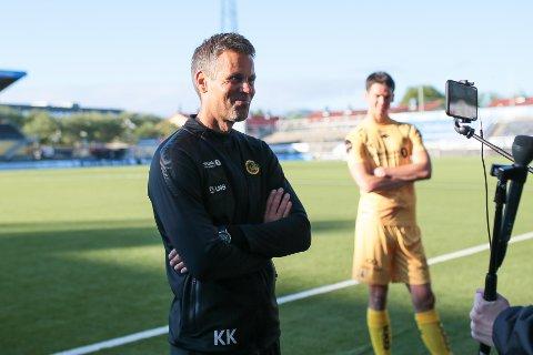 Bodø/Glimts trener Kjetil Knutsen foran og Bodø/Glimts Lasse Nordås bak.
