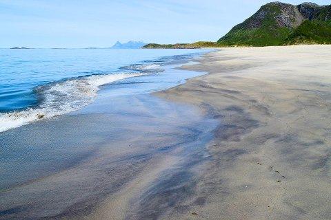 Sandhornøya hadde tropenatt. Her fra Langsanden.
