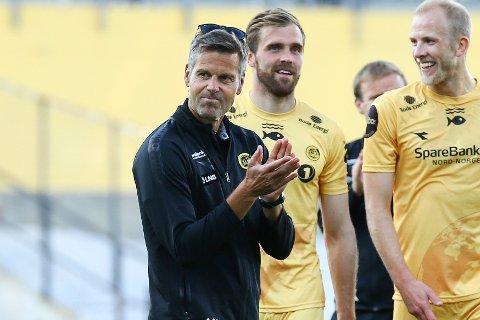 Bodø/Glimts trener Kjetil Knutsen hadde god grunn til å smile etter nok en 3-0-seier mot Valur fra Island.