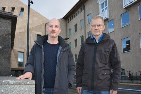 Helseleder i Bodø kommune Stian Wik Rasmussen (t.v.) og smittevernoverlege Kai Brynjar Hagen (arkivbilde).