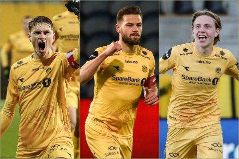 Kasper Junker, Philip Zinckernagel og Jens Petter Hauge sto for til sammen 95 målpoeng for Glimt i fjor. Nå følger de med på gamle lagkamerater som skal ut i gruppespill i Europa.