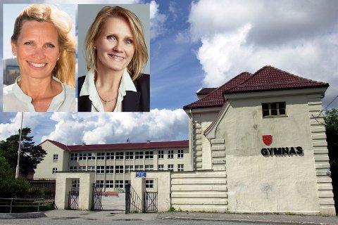 Denne uken la Sp, KrF, SV og Ap frem forslag om å legge ned Fana gymnas. Liv Braathen (t.h.) og Maria Borch Helsengreen er uenig.