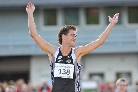 Brede Raa Ellingsen har vunnet flere senior-NM, her feirer han under junior-NM på Askøy i 2010.