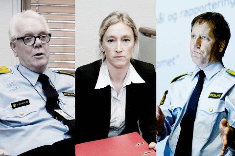 BA mener at både politimester Geir Gudmundsen (til .v) visepolitimester Gunnar Fløystad og påtaleansvarlig Sidsel Isachsen bør gå av som følge av Monika-saken. Arkivfoto: BA