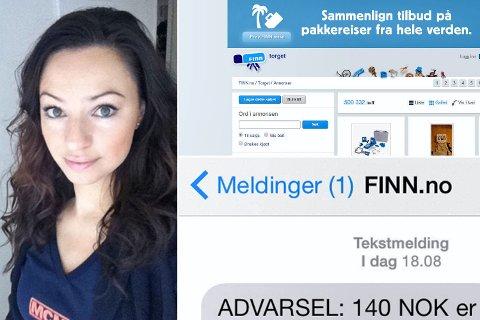 Jennifer Laureen Lechner advarer mot svindelforsøk. FOTO: PRIVAT/SKJERMDUMP FINN.NO