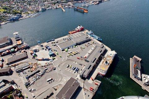 Flyfoto - Bergen - Nøstet - Hurtigruteterminalen
