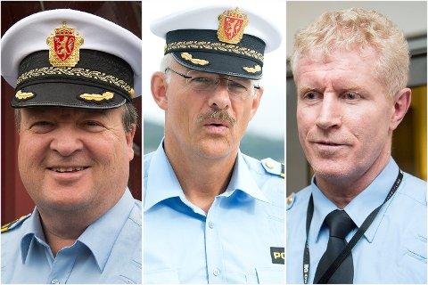 Lokalkontorene i Åsane, Bergen vest og Fana foreslås avviklet. Politistasjonssjefene fra venstre: Arne Vidar Hansen (Åsane), Tore Salvesen (Bergen vest) og Morten Ørn (Fana).