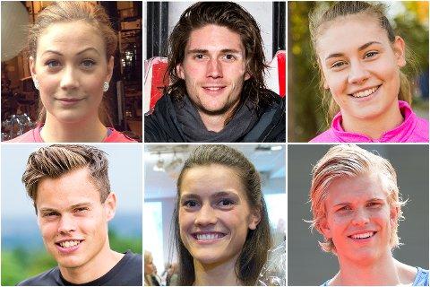 Blant annet disse får stipender. Øverst, fra venstre: Isabelle Pedersen, Nils Jakob Skulstad Hoff, Kjerstin Boge Solås, Håvard Haukenes, Stine Skogrand og Eirik Dolve.