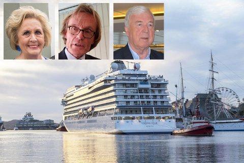Cruise-skipet Viking Star i Vågen. Tidligere ordfører i Bergen, Trude Drevland,  havnedirektør Inge Tangerås og skipsreder Torstein Hagen var siktet. Saken er henlagt på bevisets stilling.